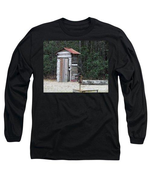 Oldtime Outhouse - Digital Art Long Sleeve T-Shirt