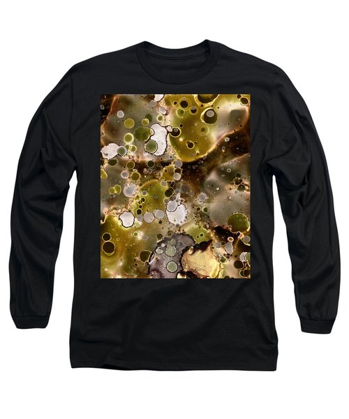 Long Sleeve T-Shirt featuring the painting Olive Metal Abstract by Patricia Lintner