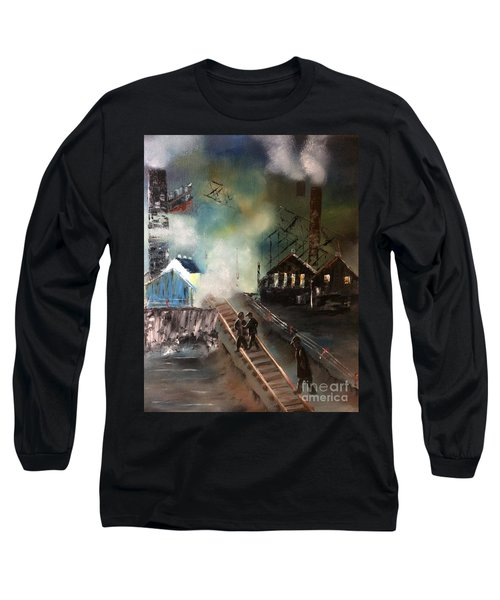 Long Sleeve T-Shirt featuring the painting On The Pennsylvania Tracks by Denise Tomasura