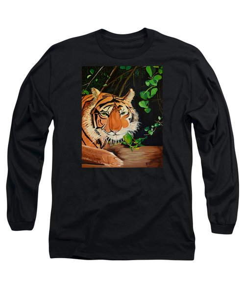 Long Sleeve T-Shirt featuring the painting On The Prowl by Donna Blossom
