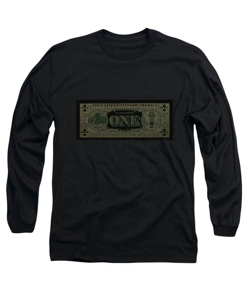One U. S. Dollar Bill Reverse - Gold On Black Long Sleeve T-Shirt