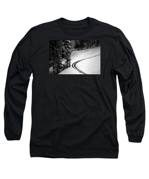 Long Sleeve T-Shirt featuring the photograph One Way - Winter In Switzerland by Susanne Van Hulst