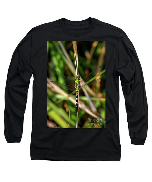 Long Sleeve T-Shirt featuring the photograph Openminded Green Dragonfly Art by Reid Callaway