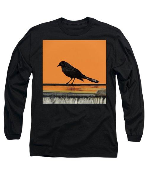 Orange And Black Bird Long Sleeve T-Shirt