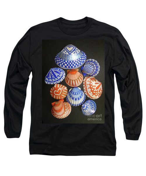 Orange And Blue Sharpie Shells Long Sleeve T-Shirt