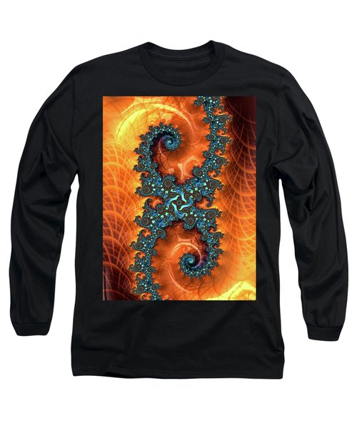 Long Sleeve T-Shirt featuring the digital art Orange And Cyan Fractal Art by Matthias Hauser
