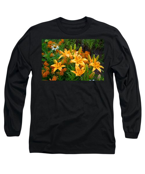 Long Sleeve T-Shirt featuring the photograph Orange Asiatic Lilies And Butterfly Weed by Kathryn Meyer