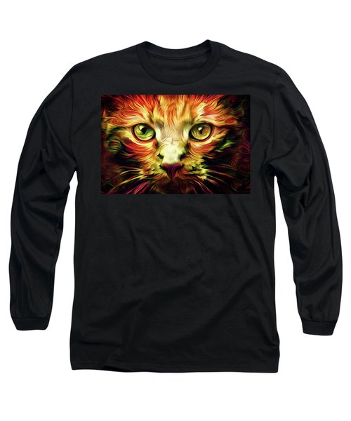Orange Cat Art - Feed Me Long Sleeve T-Shirt