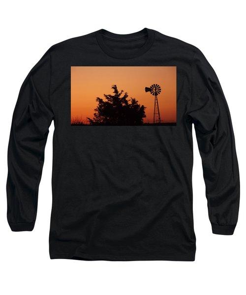 Orange Dawn With Windmill Long Sleeve T-Shirt