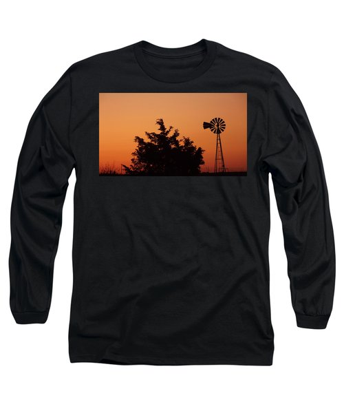 Orange Dawn With Windmill Long Sleeve T-Shirt
