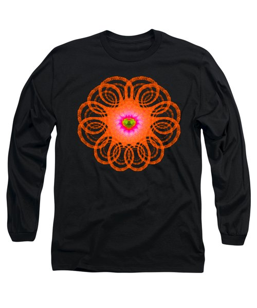 Orange Fractal Art Mandala Style Long Sleeve T-Shirt