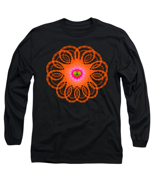 Orange Fractal Art Mandala Style Long Sleeve T-Shirt