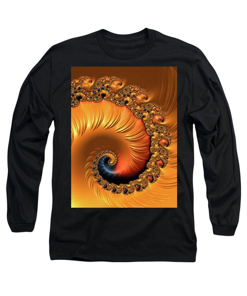 Long Sleeve T-Shirt featuring the digital art Orange Fractal Spiral Warm Tones by Matthias Hauser