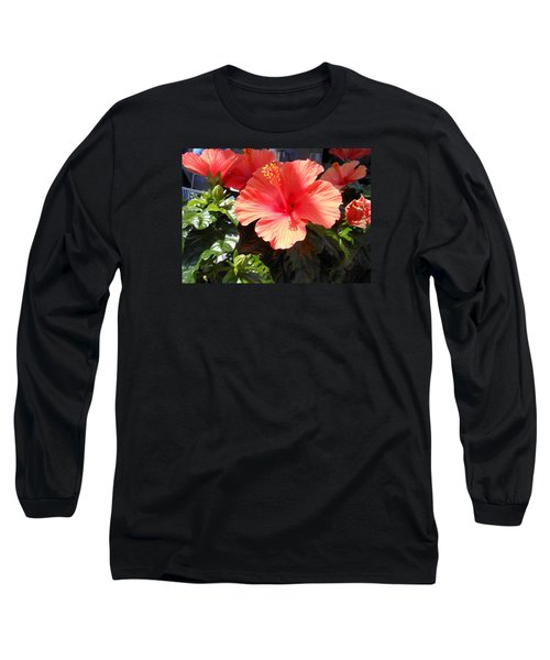Orange Hibiscus Long Sleeve T-Shirt by Kay Gilley