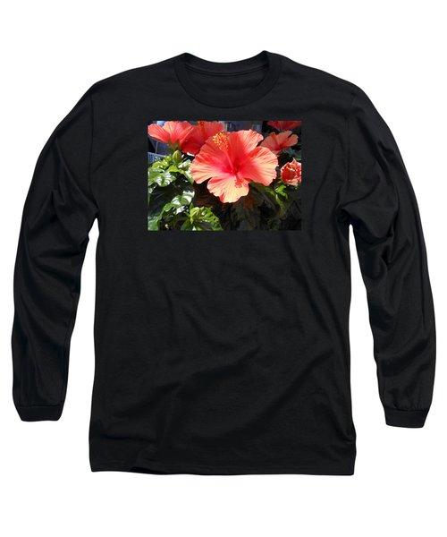 Orange Hibiscus Long Sleeve T-Shirt