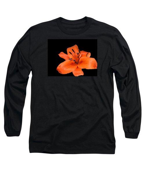 Orange Orchid On Black Long Sleeve T-Shirt by Karen Nicholson