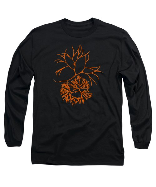 Long Sleeve T-Shirt featuring the mixed media Orange Seaweed Marine Art Furcellaria Fastigiata by Christina Rollo