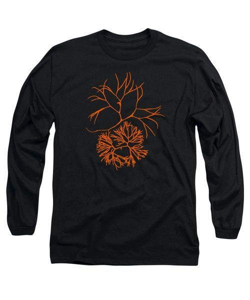 Orange Seaweed Marine Art Furcellaria Fastigiata Long Sleeve T-Shirt