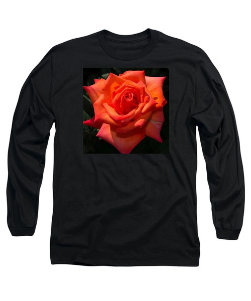 Orange Tropicana Rose  Long Sleeve T-Shirt
