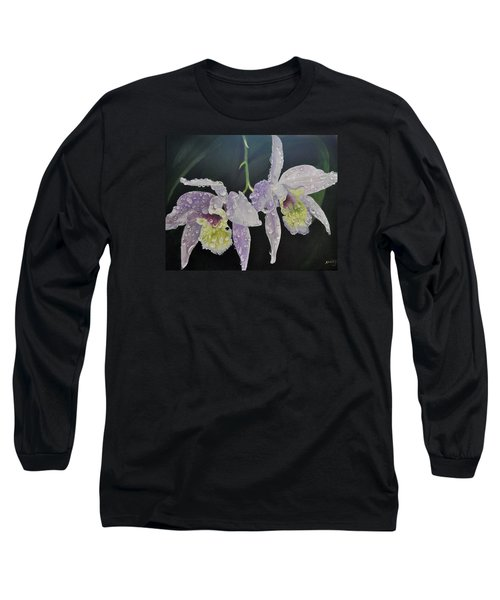 Long Sleeve T-Shirt featuring the painting Orchid Jewels by AnnaJo Vahle