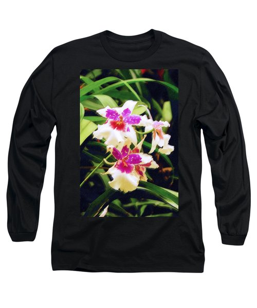 Long Sleeve T-Shirt featuring the painting Orchids 1 by Sandy MacGowan