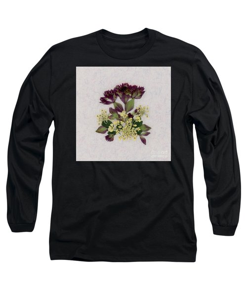 Oregano Florets And Leaves Pressed Flower Design Long Sleeve T-Shirt