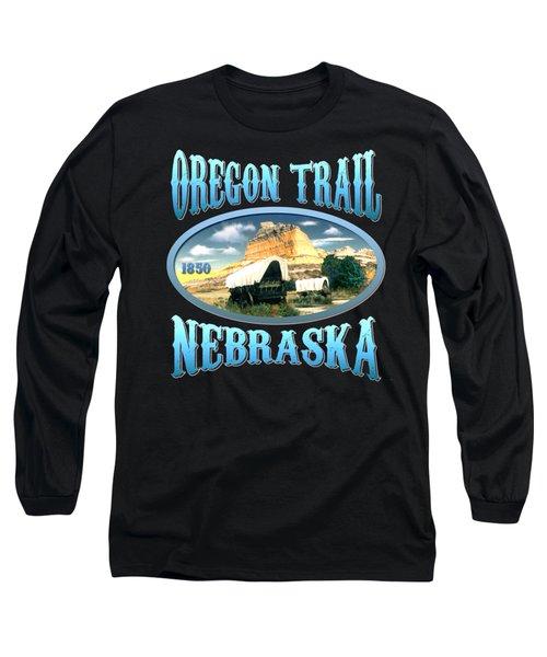 Oregon Trail Nebraska - Tshirt Design Long Sleeve T-Shirt by Art America Gallery Peter Potter