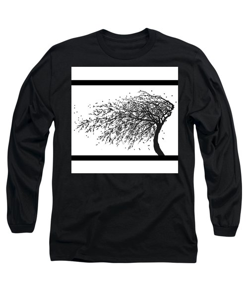 Long Sleeve T-Shirt featuring the mixed media Oriental Foliage by Gina Dsgn
