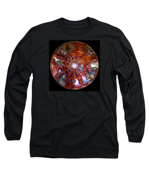 Long Sleeve T-Shirt featuring the digital art Original Copper Lightmandala Antares Radial Matrix by Robert Thalmeier