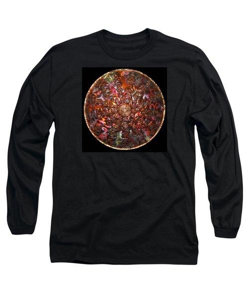 Long Sleeve T-Shirt featuring the digital art Original Copper Lightmandala by Robert Thalmeier