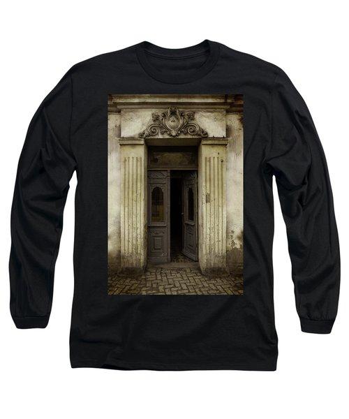 Ornamented Gate In Dark Brown Color Long Sleeve T-Shirt by Jaroslaw Blaminsky