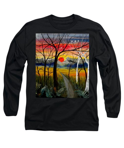 Long Sleeve T-Shirt featuring the painting Out Of The Woods by Renate Nadi Wesley