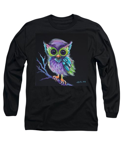 Long Sleeve T-Shirt featuring the painting Owl Be Your Friend by Agata Lindquist