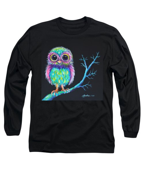 Long Sleeve T-Shirt featuring the painting Owl Be Your Girlfriend by Agata Lindquist