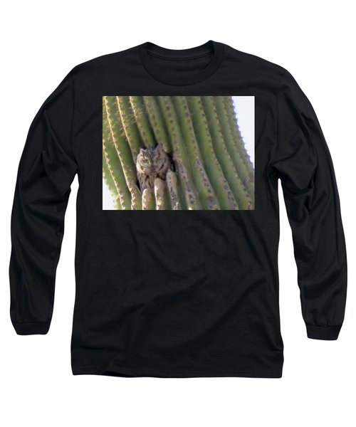 Owl In Cactus Burrow Long Sleeve T-Shirt
