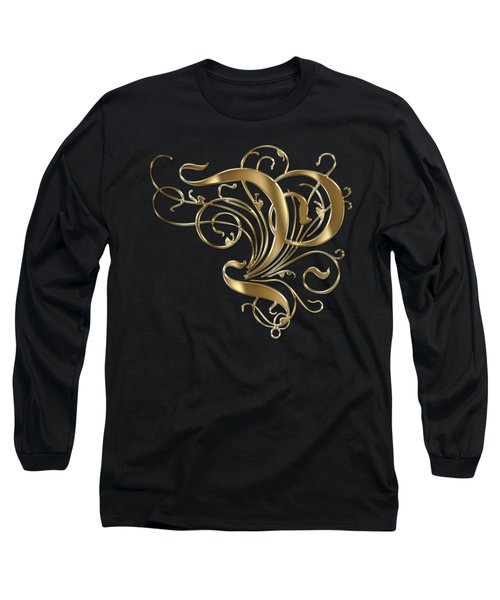 P Golden Ornamental Letter Typography Long Sleeve T-Shirt by Georgeta Blanaru