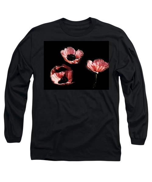 Painted Peach Poppies Long Sleeve T-Shirt by Tina M Wenger