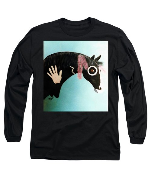 Painted Pony With Feather Long Sleeve T-Shirt