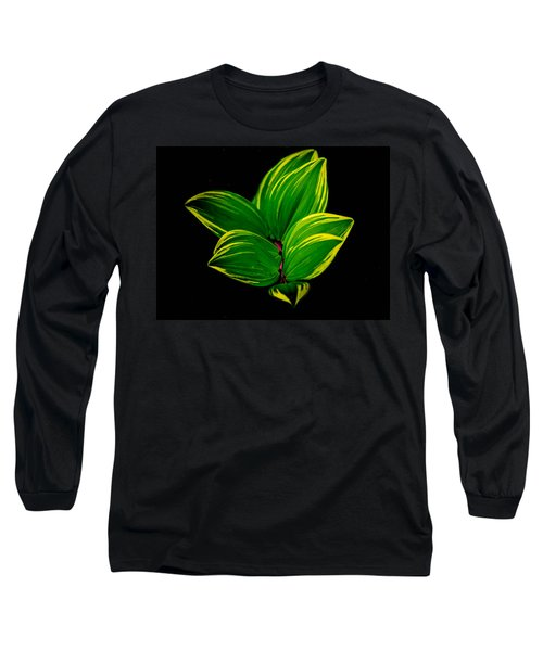 Painter Leaf Pattern Long Sleeve T-Shirt