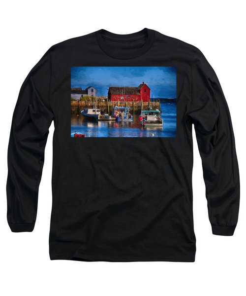 Painterly Motif #1 Rockport Long Sleeve T-Shirt by Tricia Marchlik