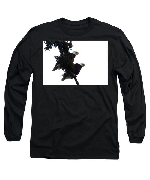 Pair Of Eagles In A Tree Long Sleeve T-Shirt by Karen Molenaar Terrell