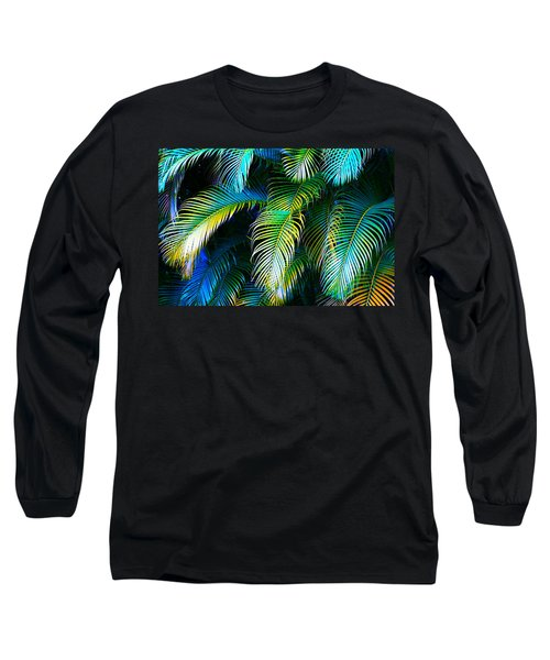 Palm Leaves In Blue Long Sleeve T-Shirt