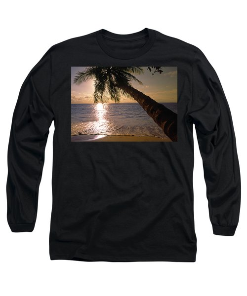 Palm Tree Over The Beach In Costa Rica Long Sleeve T-Shirt