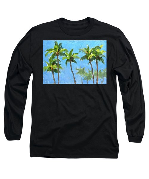 Long Sleeve T-Shirt featuring the painting Palm Tree Plein Air Painting by Karen Whitworth