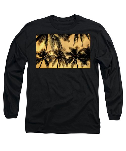 Palm Trees In Sunset Long Sleeve T-Shirt by Iris Greenwell