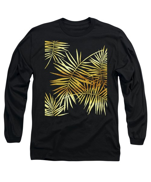 Palmes Dor Noir Golden Palm Fronds And Leaves Long Sleeve T-Shirt