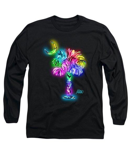 Palmetto Tree And Moon Glow Long Sleeve T-Shirt