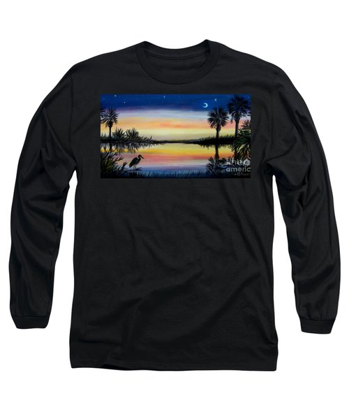Palmetto Tree And Moon Low Country Sunset Long Sleeve T-Shirt by Patricia L Davidson