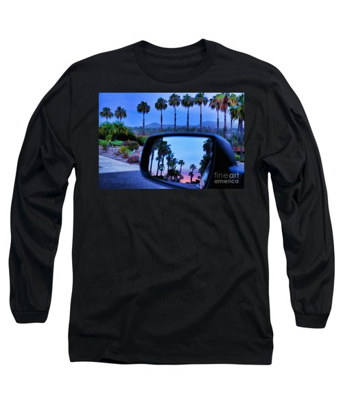 Palms Sunset Reflection Long Sleeve T-Shirt by Sharon Soberon