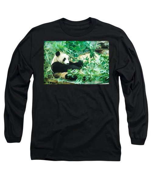 Long Sleeve T-Shirt featuring the painting Panda 1 by Lanjee Chee